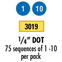"""1/4""""  Dots-Numbered 1-10"""