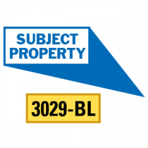 Subject Property Locator Pointing in 4 Directions, Blue