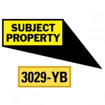 Subject Property Locator Pointing in 4 Directions, Yellow/Black
