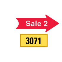 Solid Tiny Sale 2 Arrows 1/2 Left-1/2 Right, Red