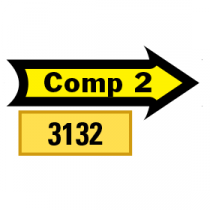 Outlined Comp 2 Arrows 1/2 Left-1/2 Right, Yellow/Black