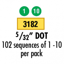 "5/32""  Numbered Dots 1-10, Green"